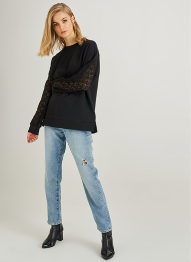 Monamoda Kolları Dantelli Oversize Sweatshirt Siyah